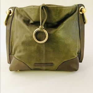 BCBG MaxAzria Croc Green Leather Handbag